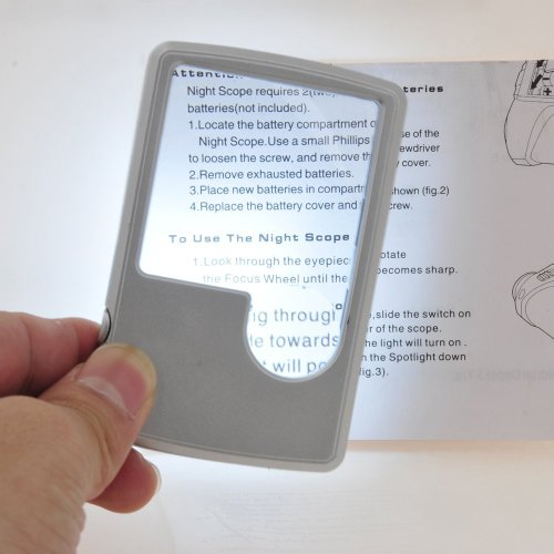 3X 6X LED Illuminated Magnifier Card Shaped Reading Magnifying Glass, Silver