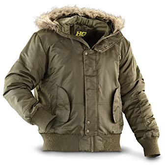 HQ ISSUE Hooded Bomber Jacket Olive by HQ ISSUE