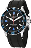 Stuhrling Original Men's 706.02 Aquadiver Regatta Quartz Date Blue Accent Rubber Strap Watch