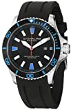 Stuhrling Original Mens 706.02 Aquadiver Regatta Diver Sport II Quartz Date Blue Accent Rubber Strap Watch