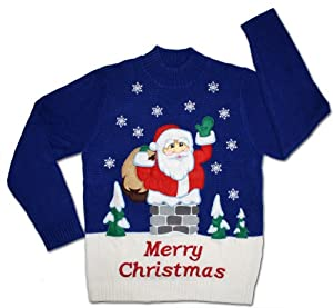 Ugly Christmas Sweater - Rooftop Santa Clause Holiday Sweater by Skedouche