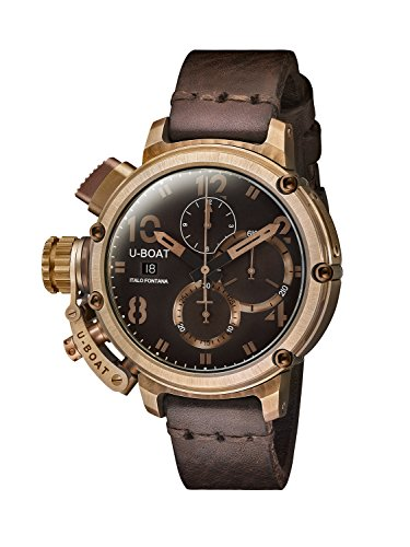 U-Boat Chimera 46mm Bronze /A Men's Automatic Watch with Brown Dial Chronograph Display and Brown Leather Strap 7474.0
