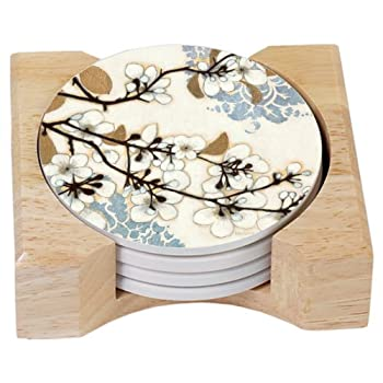 CounterArt Dogwood Branch Design Absorbent Coasters in Wooden Holder, Set of 4