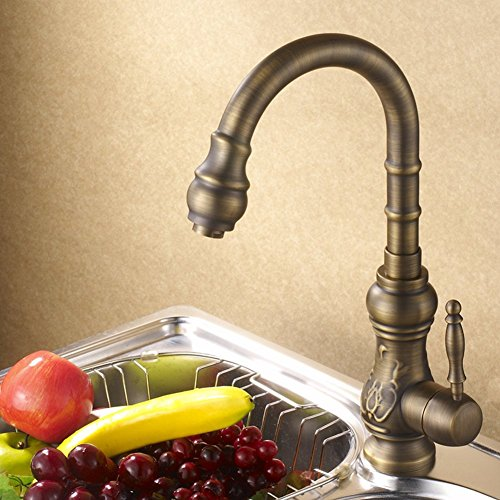 Full coppper antique faucet/Continental retro rotating hot and cold taps/Vegetables basin kitchen faucet-C