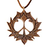 Peace Lotus Peace Bronze Pendant Necklace on Adjustable Natural Fiber Cord