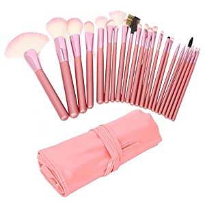 niceEshop 22pcs Professional Cosmetic Makeup Brush Set With Pink Bag