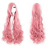 Hsg Cute Girl Cosplay Pink Long Fluffy Wigs Wavy Wigs Curly Wigs With Oblique Bangs