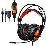 EasySMX 超軽量 ゲーミングヘッドセット マイク調整可能 PCゲーム対応 騒音隔離