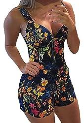Jiujiuyi Women's Summer Fashion Floral Print Low Cut Jumpsuit