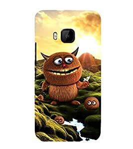 ANIMATED BROWN MONSTER WITH THE LITTLE ONES 3D Hard Polycarbonate Designer Back Case Cover for HTC One M9 :: HTC M9 :: HTC One Hima