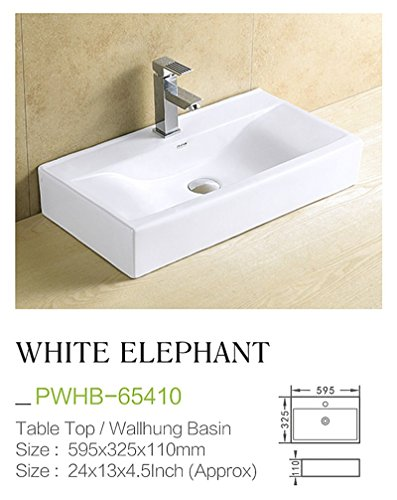 Plano Ceramic Wash Basin Tabletop / Wall Mount Whiteelephant