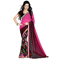ethnic bazaar pink pure georgette partywear saree
