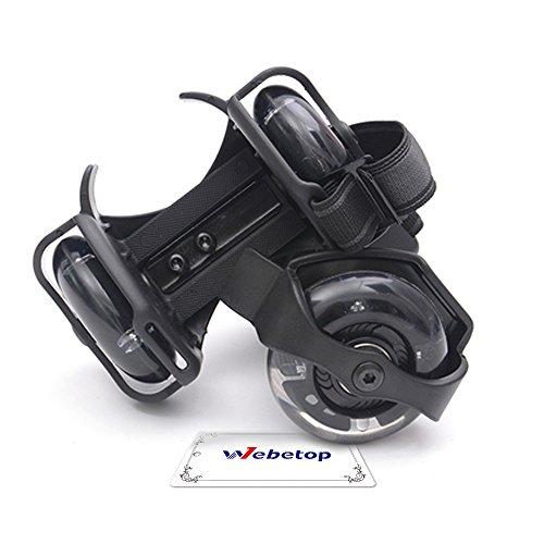 Flash Heelys Roller Skates/ Ruote da scarpe regolabile Hot Wheels Skating Scarpe,16.5 x 9 x8 cm, Nero