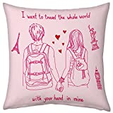 Valentine Gifts for Boyfriend Girlfriend Love Printed Cushion 12X12 Filled Pillow Pink Together Travel Whole World Gift for Her Birthday Anniversary