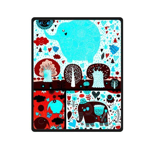 "Romantic Seamless Pattern With Dark Elephants Custom Blanket 40""X 50""(Small) front-917402"