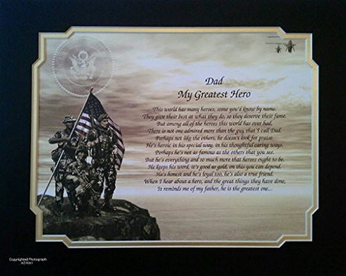Army Gift for Dad My Greatest Hero Sentimental Framed Poem Father's Day Birthday Military Soldier
