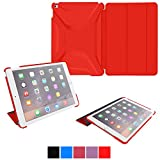 iPad Air 2 Case - roocase Optigon 3D iPad Air 2 2014 Slim Shell Case Smart Cover [Features Landscape and Typing Stand] for Apple iPad Air 2 (2014) 6th Generation Latest Model, Red