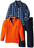 Nautica Baby Boys' 3 Piece Set Woven Sweater Denim, Orange, 24 Months