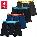 Calvin Klein Cotton Stretch Boys' Boxer Briefs (Large, Black-Navy-Grey) 4 Pack (Color: Black-navy-grey, Tamaño: Large)