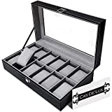 Luxury Watch Box 12 Velvet Pillow Slots, Premium Display Case With Framed Glass Lid, Elegant Contrast Stitching, Sturdy & Secure Lock - By Cas De` Lux