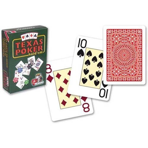 Modiano Italian Poker Game Playing Cards - Green Box Texas Poker - RED Deck - Jumbo 2 Index - Single Card Deck - Made in Italy