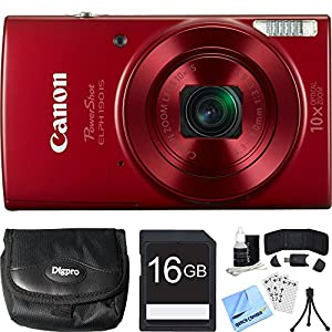 Canon PowerShot ELPH 190 IS Red Digital Camera 16GB Card Bundle includes Camera, 16GB Memory Card, Reader, Wallet, Case, Mini Tripod, Screen Protectors, Cleaning Kit and Beach Camera Cloth