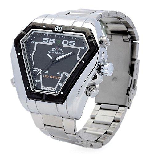 Peleustech® Weide Wh1102-2 Men'S Sport Multi-Function Stainless Steel Digital + Analog Quartz Led Wrist Watch