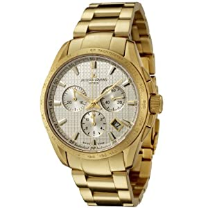 Jacques Lemans Men's GU191F Geneve Collection Tempora Chronograph Gold-Plated Stainless Steel Watch