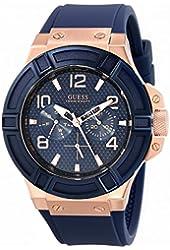 GUESS Men's U0247G3 Rigor Blue & Rose Gold-Tone Silcone Casual Sport Watch
