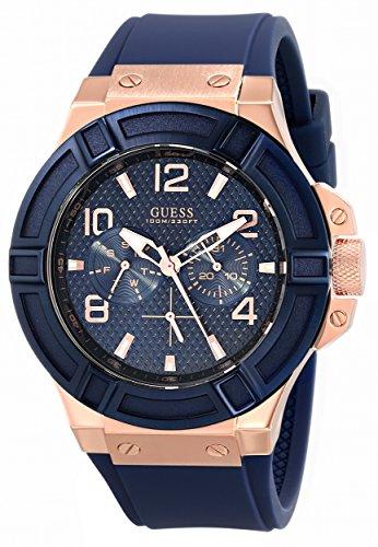guess-mens-u0247g3-rigor-blue-rose-gold-tone-silcone-casual-sport-watch