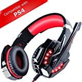 ECOOPRO Gaming Headset For PS4, PC, MAC, Mobiles - With Microphone, LED Lights & In-line Volume Control Red