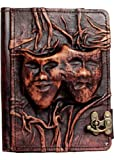 A little Present Embossed Happy Sad Drama Mask On A Vintage Leather Cover Case for Kindle Fire HD 8.9/Kindle Fire HDX 8.9