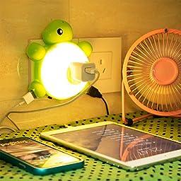 MANVEBabyturtleLEDNightLight,withlightSensorandDualUSBWallCharger, in the Dark for Hallway Bathroom bedroom Living Room Kitchen (Warm light)