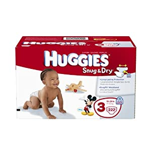 Huggies Snug and Dry Diapers Economy Plus, Size 3, 222 Count