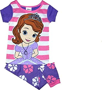 Disney Sofia the First Girls Cotton 2 Piece Shirt and Pants Pajama Set (2T)