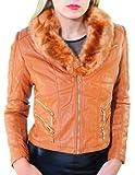 Sasa Coop - Dames blousons vêtements, veste de cuir avec pelage-coquille, marron et rost, S