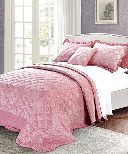 Serenta Super Soft Microplush Quilted 4 Piece Bedspread Set, Queen, Pink (Eiderdown Quilt compare prices)