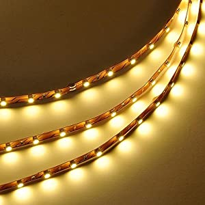 LEDwholesalers 16.4 Feet (5 Meter) Flexible LED Light Strip with 300xSMD2835 and Adhesive Back, 12 Volt, Warm White 3100K, 2026WW-31K