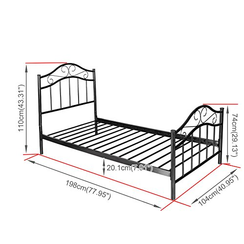 Kingpex metal platform bed frame twin size with headboard for Twin size bed frame for toddler