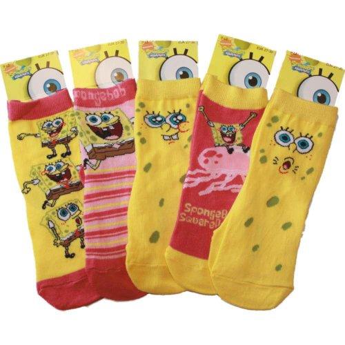 Girls Official Spongebob Comic Cartoon Character Cotton Rich Socks 5pk