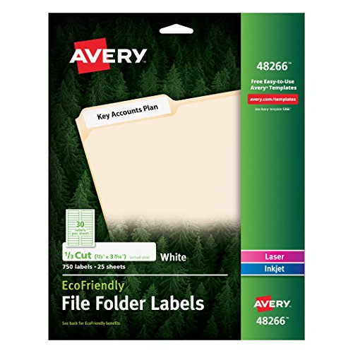 Avery white extra large file folder labels for laser and for Avery template 5027