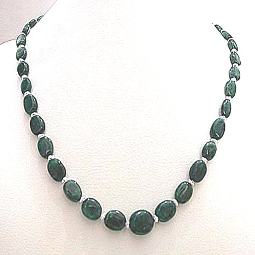 Single Line Real Green Emerald Necklace
