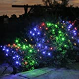 100 Multi Coloured LED Solar Powered Garden Net Light 1.5m x 0.8m by Lights4funby Lights4fun