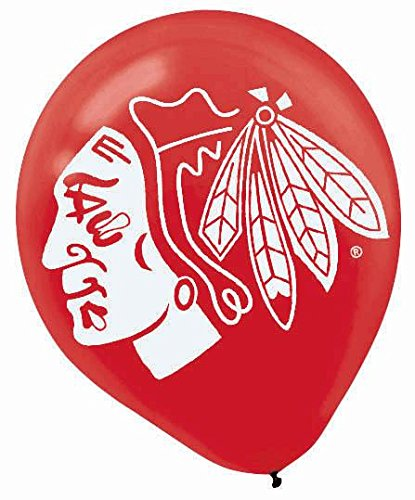 "Amscan Chicago Blackhawks Printed Latex NHL Party Balloons, 12"", Black/Red"