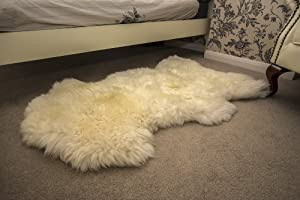 White L British Genuine Natural Sheepskin Fur Rug from Leather Heritage