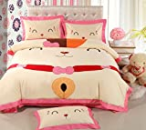 Luk Oil Home Textile Japanese Cute Cartoon Lucky Cat 4 Piece Bedding Set Boys and Girls Embroidery 100% Brushed Cotton Duvet Covers Kids Students Bedclothes Fashion Flounce Bed Sheets Queen Size