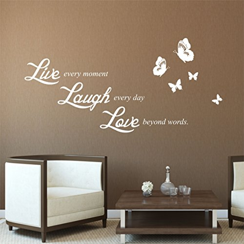 greenluup wandtattoo in wei spruch live laugh love wandaufkleber wandsticker spr che. Black Bedroom Furniture Sets. Home Design Ideas