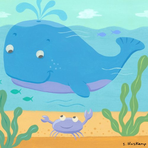 Oopsy daisy Whale and Crab Stretched Canvas Wall Art by Steve Haskamp, 10-1/2 by 10-1/2-Inch