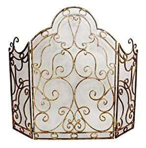 Ornate Antique Gold Scroll Iron Fireplace Screen Home Kitchen