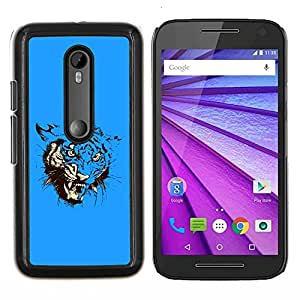 Omega Covers - Snap on Hard Back Case Cover Shell FOR MOTOROLA MOTO G3 ( 3ND GEN. ) - Blue Fierce Tiger Attack